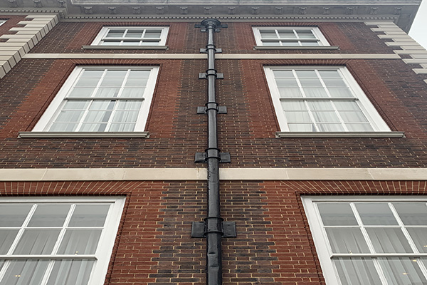 Cast iron guttering on a heritage property.